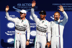 Qualifying: second place Nico Rosberg and polesitter Lewis Hamilton, Mercedes AMG F1 and third place Valtteri Bottas, Williams