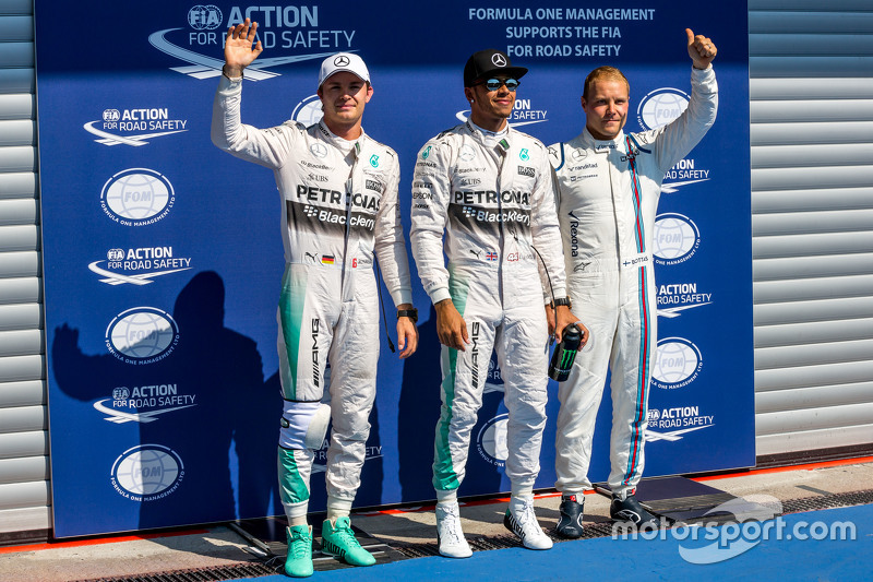 Qualifying top three in parc ferme,: Nico Rosberg, Mercedes AMG F1, second; Lewis Hamilton, Mercedes AMG F1, pole position; Valtteri Bottas, Williams, third