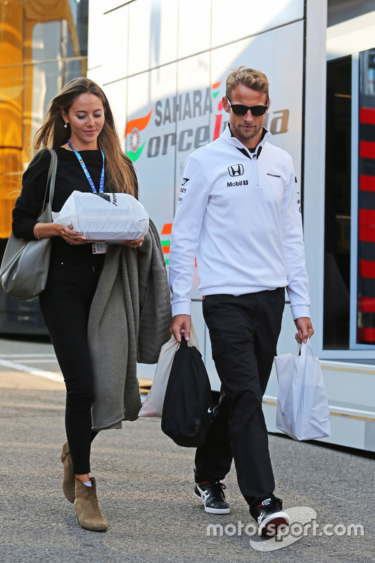 Jenson Button, McLaren bersama his wife Jessica Button,