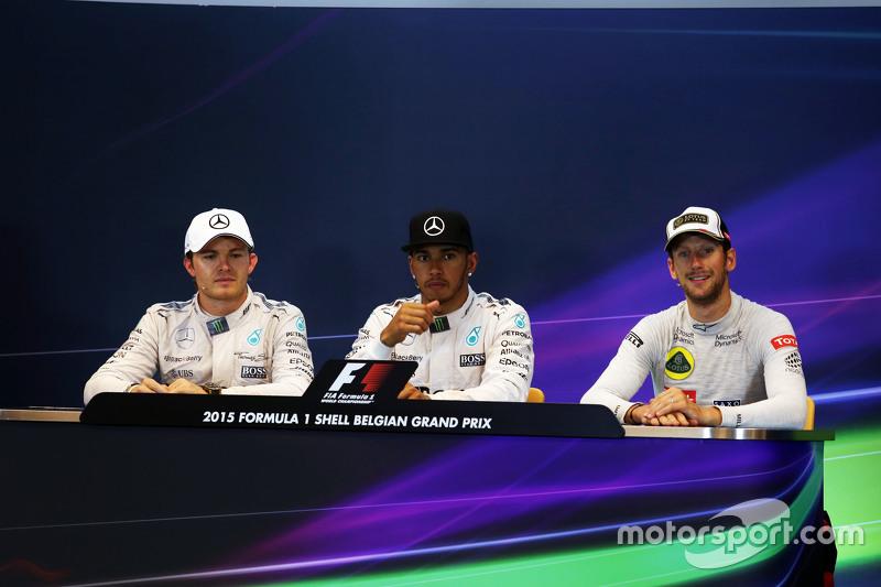 FIA Press Conference,: Nico Rosberg, Mercedes AMG F1, second; Lewis Hamilton, Mercedes AMG F1, race
