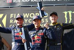 Podium : le vainqueur Timmy Hansen, Team Peugeot Hansen, le deuxième, Davy Jeanney, Team Peugeot Hansen, le troisième, Robin Larsson, Larsson Jernberg Racing Team Audi A1
