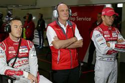 Dr. Wolfgang Ullrich, director de Audi Sport con Benoit Treluyer y Andre Lotterer, Audi Sport Team J