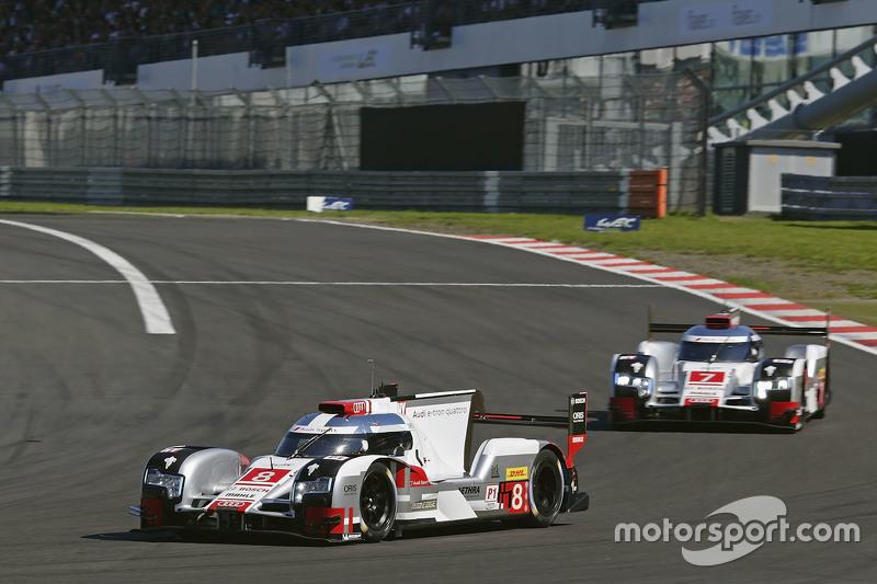 #8 Audi Sport Team Joest Audi R18 e-tron quattro: Lucas di Grassi, Loic Duval, Oliver Jarvis; #7 Aud