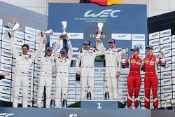 GTE Pro class podium: winners Richard Lietz, Michael Christensen, Porsche Team, second place Frédéric Makowiecki, Patrick Pilet, Porsche Team, third place Davide Rigon, James Calado, AF Corse
