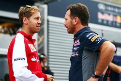Sebastian Vettel, Ferrari; Christian Horner, Red-Bull-Racing-Teamchef