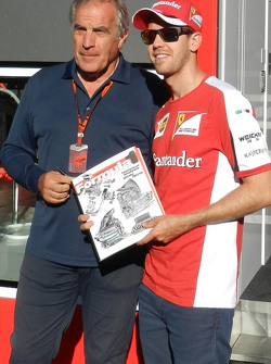Giorgio Piola, Motorsport.com technische analist Formule 1, met Sebastian Vettel, Ferrari