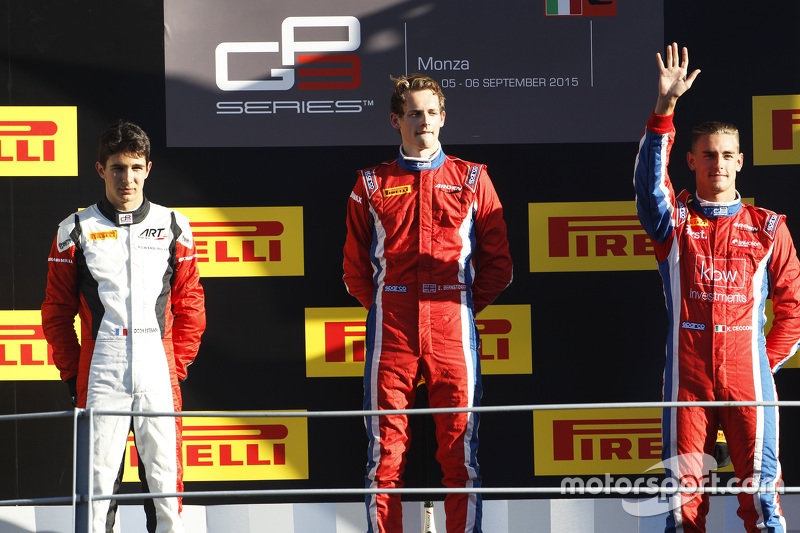 Race 1 Podium: second place Esteban Ocon, ART Grand Prix and winner Emil Bernstorff and third place