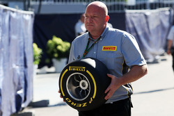 A Pirelli engineer with a tyre