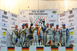 Podium: race winners Adam Christodoulou, Hubert Haupt, Abdulaziz al Faisal, Yelmer Buurman, Black Fa