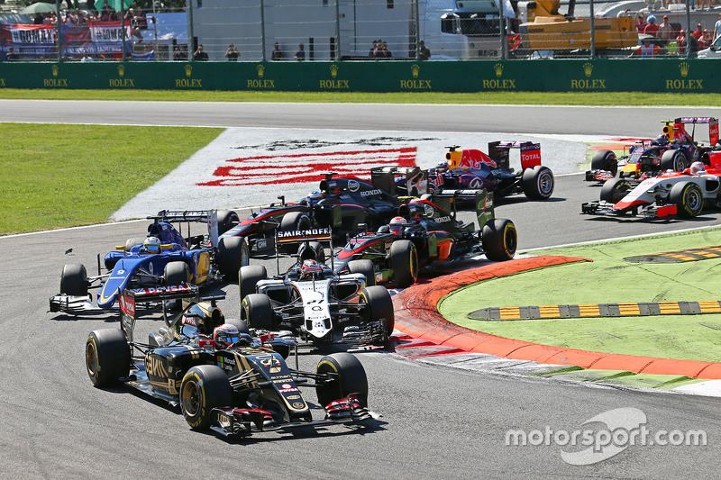 Romain Grosjean, Lotus F1 E23, am Start