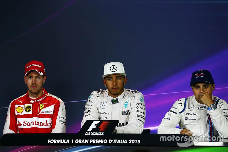 FIA-PK nach dem Rennen: 2. Sebastian Vettel, Ferrari; 1. Lewis Hamilton, Mercedes AMG F1; 3. Felipe