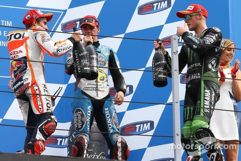 Podium: Winner Marc Marquez, Repsol Honda Team and third place Scott Redding, Marc VDS Racing Honda