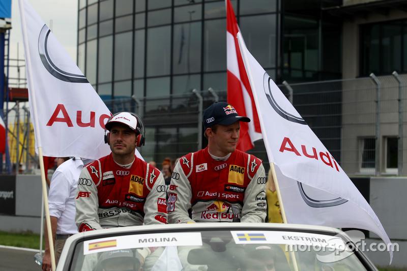 Miguel Molina, Audi Sport Team Abt, Audi RS 5 DTM, und Mattias Ekström, Audi Sport Team Abt Sportsline, Audi A5 DTM