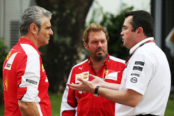 Maurizio Arrivabene, Ferrari Team Principal with Gino Rosato, Ferrari and Eric Boullier, McLaren Rac