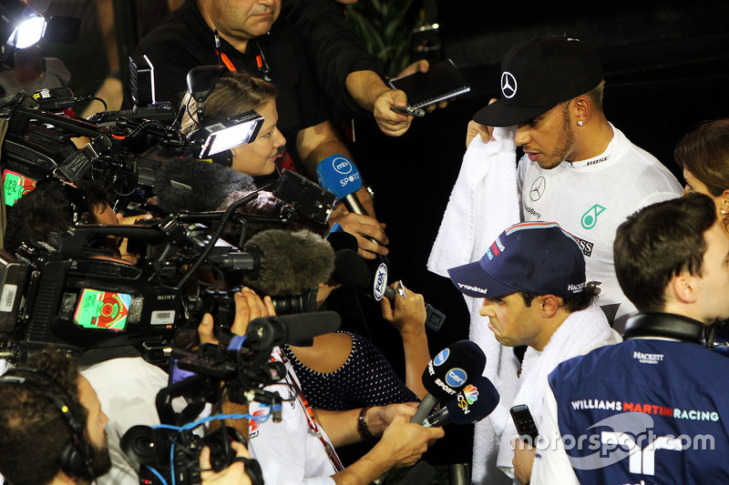 Felipe Massa, Williams and Lewis Hamilton, Mercedes AMG F1 with the media