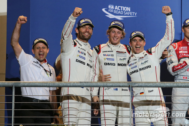 Podium: winners Timo Bernhard, Mark Webber, Brendon Hartley, Porsche Team