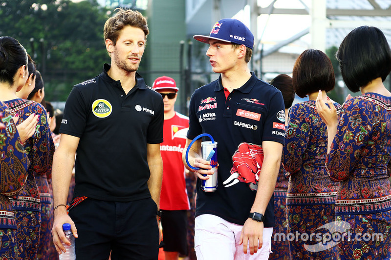 Romain Grosjean, Lotus F1 Team with Max Verstappen, Scuderia Toro Rosso on the drivers parade
