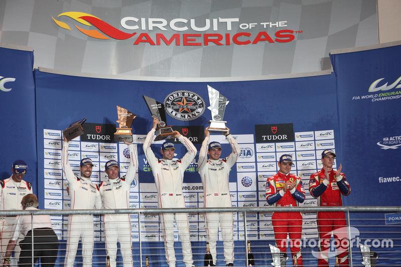 LMGTE Pro, Podium: 1. Richard Lietz, Michael Christensen, Porsche Team; 2. Frédéric Makowiecki, Patrick Pilet, Porsche Team; 3. Davide Rigon, James Calado, AF Corse