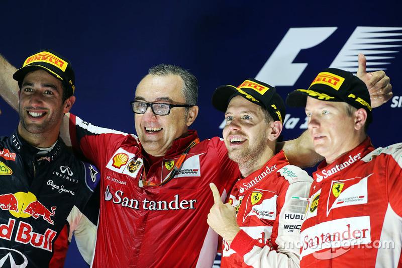 Podium: 1. Sebastian Vettel, Ferrari, 2. Daniel Ricciardo, Red Bull Racing, 3. Kimi Raikkonen, Ferra