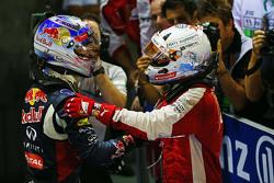 Il vincitore della gara Sebastian Vettel, Ferrari festeggia nel parco chiuso con il secondo classificato Daniel Ricciardo, Red Bull Racing