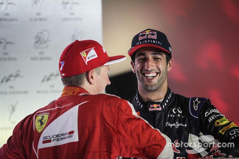 Kimi Raikkonen, Ferrari and Daniel Ricciardo, Red Bull Racing on the podium
