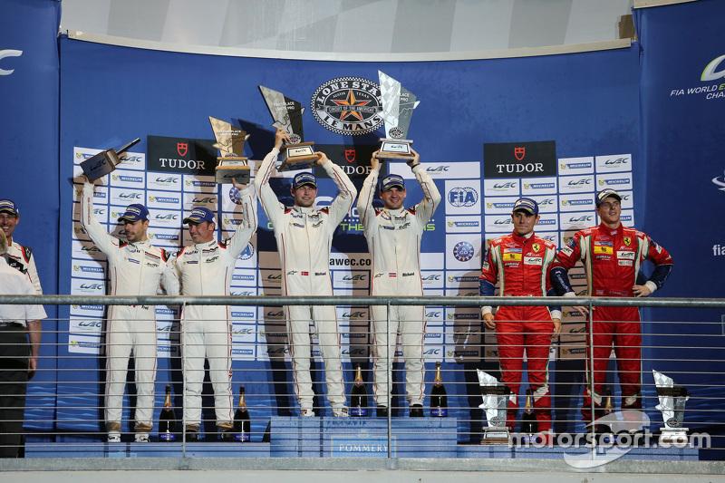 LMGTE Pro podium: winners Richard Lietz, Michael Christensen, Porsche Team, second place Frédéric Ma