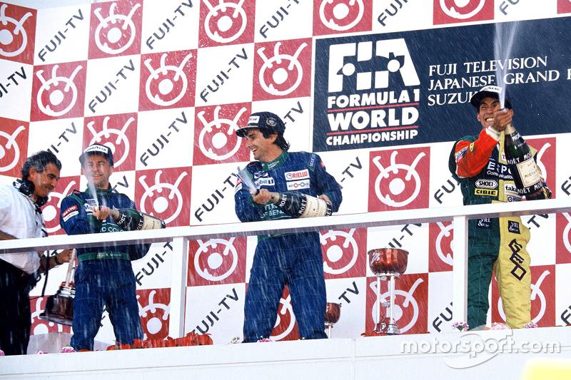 Podium : le vainqueur Nelson Piquet, Benetton, le deuxième Roberto Moreno, Benetton, le troisième Aguri Suzuki, Larrousse