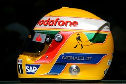 Helmet of Lewis Hamilton, McLaren Mercedes, with Steinmetz Diamonds