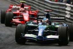 Jenson Button, Honda Racing F1 Team, RA107 and Kimi Raikkonen, Scuderia Ferrari, F2007