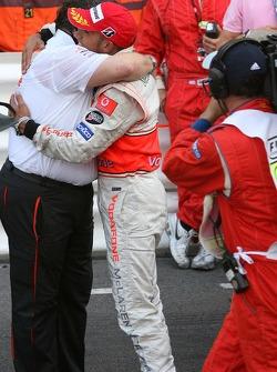 Norbert Haug, Mercedes, Motorsport chief and Lewis Hamilton, McLaren Mercedes