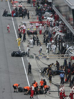 The busy pit lane