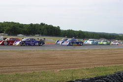 The cars make their way through the key hole for the start