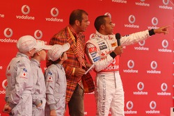 Lewis Hamilton, McLaren Mercedes and Kai Ebel, with young Karters, Vodafone Karting Event