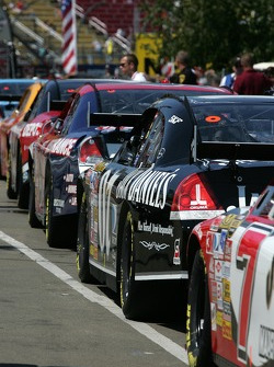 Cars line up to take the track