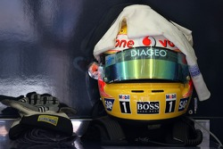 Lewis Hamilton, McLaren Mercedes, helmet and gloves