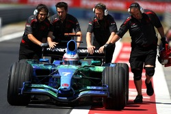 Jenson Button, Honda Racing F1 Team, RA107 is pushed back to the garage