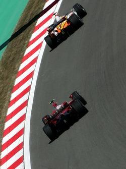 Giancarlo Fisichella, Renault F1 Team, R27, Kimi Raikkonen, Scuderia Ferrari, F2007 and Nick Heidfeld, BMW Sauber F1 Team, F1.07