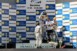 Podium: Gerhard Ungar, Chief Designer AMG gets sprayed on with champagne at the podium