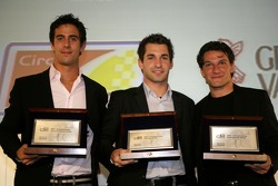 2007 GP2 Series champion, Timo Glock collects his award along with Lucas di Grassi  and Giorgio Pantano
