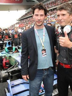Keanu Reeves, actor, with Nick Fry, Honda Racing F1 Team, Chief Executive Officer
