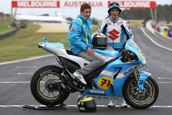 Suzuki retro livery presentation: Chris Vermeulen and Freddie Sheene, son of legend Barry Sheene