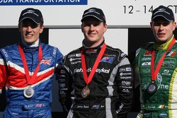 Podium: race winner Jonny Reid with second place Robbie Kerr and third place Adam Carroll
