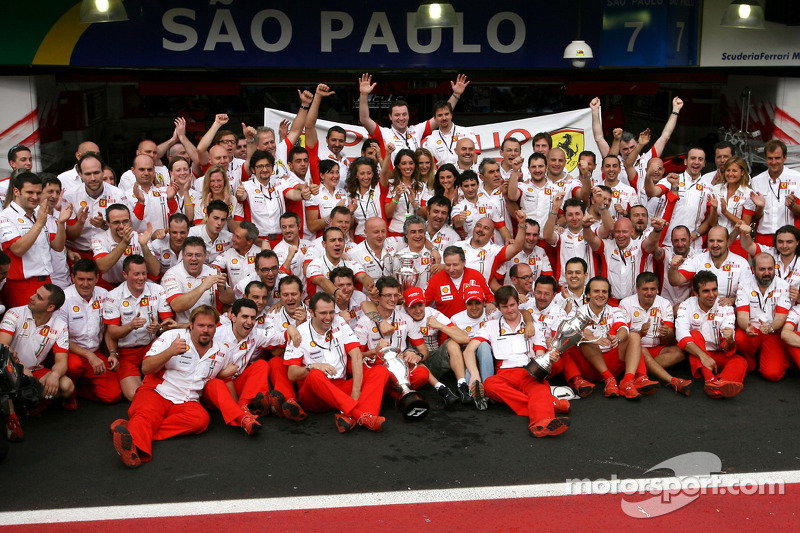 Ferrari team celebrations: race winner and 2007 World Champion Kimi Raikkonen celebrates with Felipe Massa, Jean Todt and Ferrari team members
