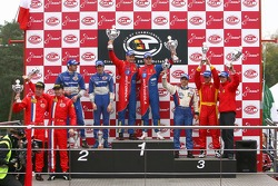 GT2 podium: class winners Toni Vilander and Dirk Muller, second place Marcello Zani and Xavier Pompidou, third place Rui Aguas and Maurizio Mediani