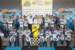 Victory lane: race winner Jimmie Johnson with Lowe's Chevy crew
