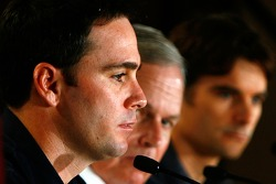 Press conference at the Doral in Miami: Jimmie Johnson, team owner Rick Hendrick and Jeff Gordon