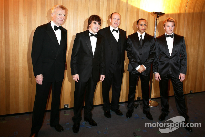 Max Mosley, Fernando Alonso, His Serene Highness Prince Albert of Monaco, Lewis Hamilton and Kimi Ra