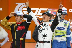 Podium: Nations Cup winners Sebastian Vettel and Michael Schumacher celebrate