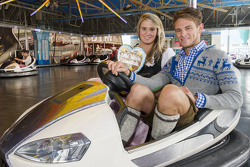 Marco Wittmann, dan Natalie Geisenberger attend the BMW Wiesn Sport-Stammtisch 2015 at Oktoberfest