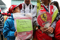 A young Sebastian Vettel, Ferrari fan